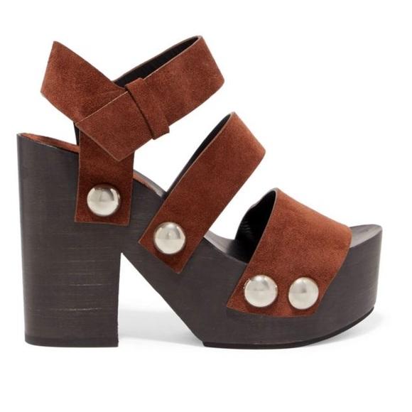 Alexander Wang Woman Tess Suede Platform Sandals Chocolate Size 38 6WnqMoTS